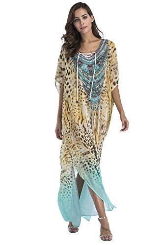 Vestido Largo de Playa Mujer Bohemia Kaftan Maxi Pareo de Algodón Verano Poncho Tuunic Etnico Foral Bikini Cover Up Sarong Traje de Baño Beachwear