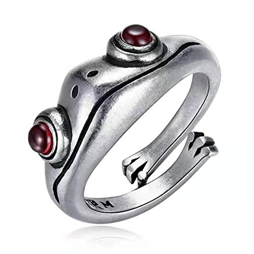Simsly Anillo de rana vintage con diseño de animales, anillo abierto de plata ajustable, para mujeres y niñas