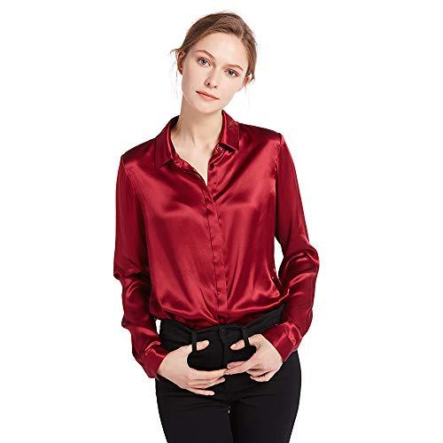 LilySilk Damen Hemdbluse Seide Sommerliche Damenbluse Shirt mit verdeckter Knopfleiste von 22 Momme (Weinrot, L) Verpackung MEHRWEG