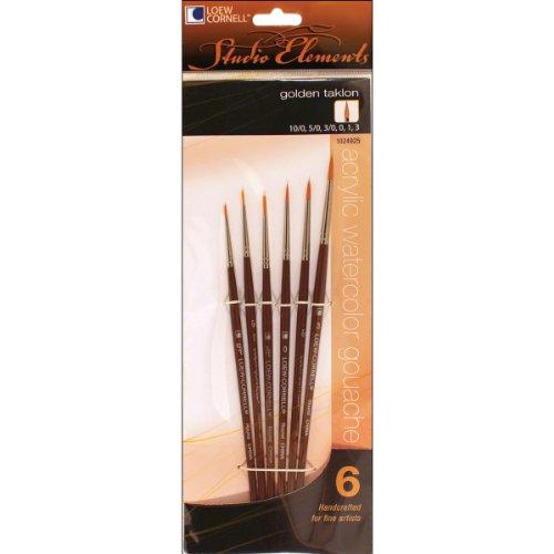 Loew-Cornell 1024925 Studio Elements Golden Taklon Short Handle Round Brush Set