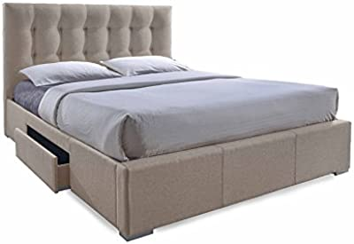 Contemporary Storage King Size Bed in Light Brown Fabric