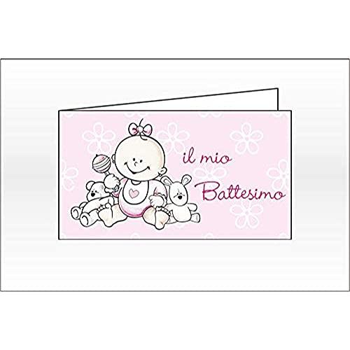 100 PZ Bigliettini bigliettino bomboniera IL MIO BATTESIMO BAMBINA rosa
