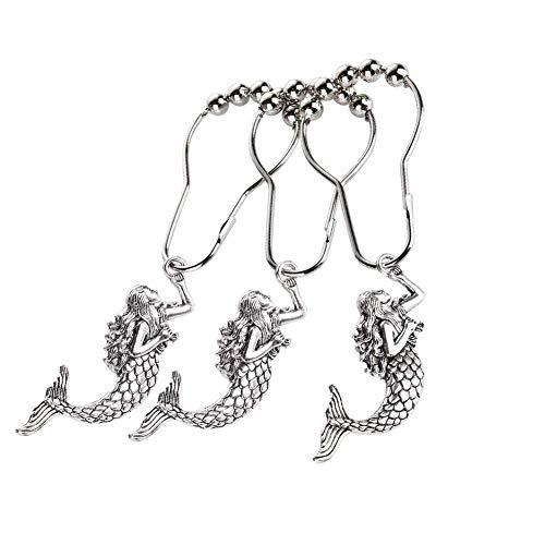 Aitian Mermaid Shower Curtain Hooks Rings - Silver Metal Curtain Hangers Decorative Bath Room Accessories Set, Sea, Beach, Ocean, Nautical, Tropical, Cool, Morden, Fashion Theme Bathroom Decor