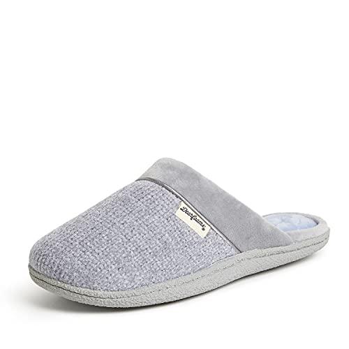 Dearfoams Zuecos de chenilla para mujer con calcetines acolchados, Sleet, M