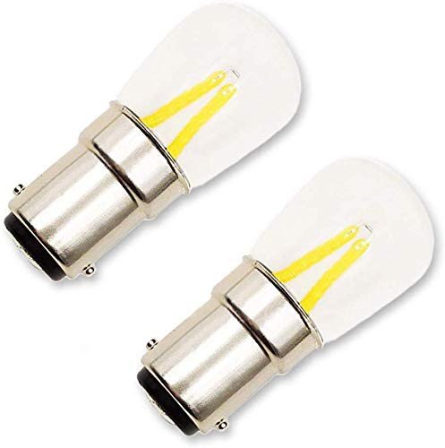 Lampadina BA15D LED 220V per Macchina da Cucire Singer/Pfaff, 150LM, 2W Equivalente B15D 15W Incandescenza, Luce Fredda 6000K, 2 Contatti Eletteici, BA15D LED Filamento a Baionetta, set di 2