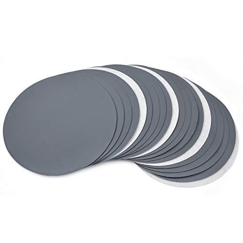 POLIWELL 20 discos de lija de 18 cm grano 60-10000 húmedo/seco de alto rendimiento de carburo de silicio ultra fino papel de lija duradero gancho y bucle papel de lija para pintura y acabado