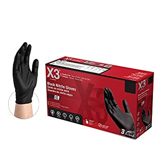 X3 Industrial Black Nitrile Gloves, Box of 100, 3 Mil, Size Small, Latex Free, Powder Free, Textured, Disposable, Food Safe, BX342100-BX (B01I527F84)   Amazon price tracker / tracking, Amazon price history charts, Amazon price watches, Amazon price drop alerts