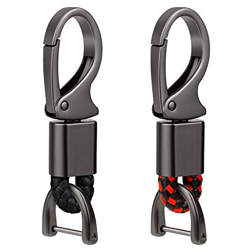 Feeke Car Key Fob Keychains Leather Holder Keys Chain Sturdy Metal with D-Ring for Men and Women 2 Pack Black & Red(Gift Box)