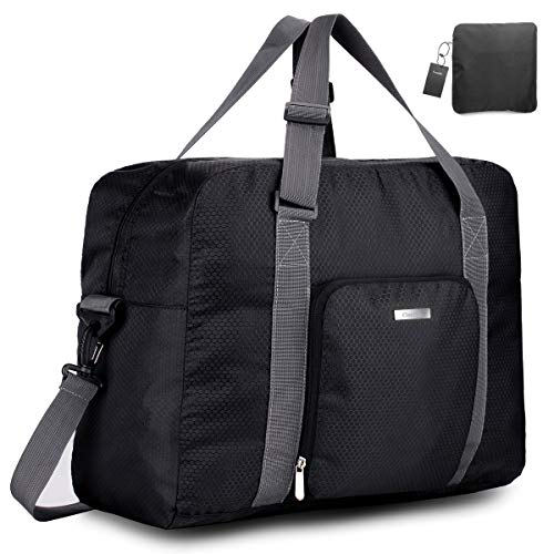 Travel Foldable Duffle Bag for Women & Men, Waterproof Lightweight Travel Luggage Bag for Sports, Gym (Black&Grid)