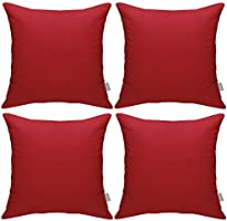 Pack of 4 Cotton Pillow Covers,Decorative Solid Square Throw Pillow Case for Home Sofa Decorative 18x18 inch/ 45x45cm...