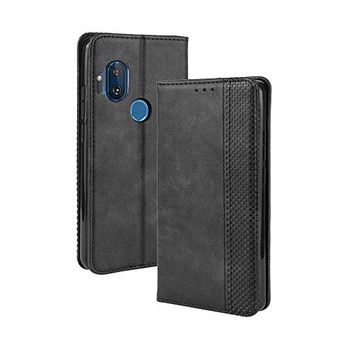 Dedux Flip Hülle kompatibel mit Motorola One Hyper, Retro Leder Brieftasche Abdeckung Magnetverschluss Folio Ständer Kartensteckplätze Handyhülle, Schwarz