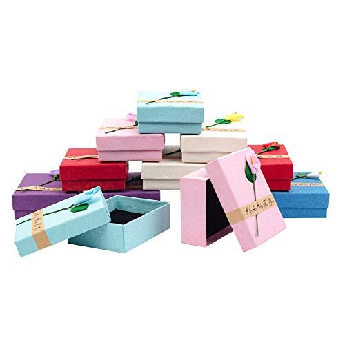 nbeads Jewellery Box, 12 Pc-Papprechteck-Geschenkbox mit Schwarzem Schwamm, Gemischte Farbe, 9×7×3 cm