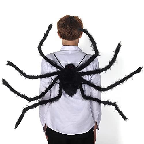smanyanl Decoración de Halloween Giant Spider, 100 cm, patas negras de araña para adultos, falsa y realista, mochila para interior y exterior, fiesta