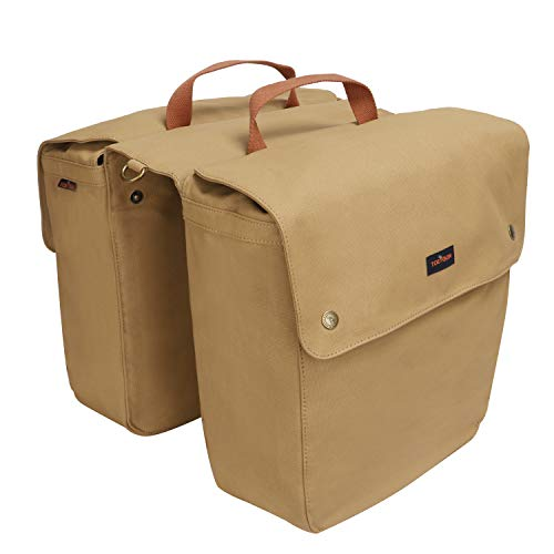 TOURBON Waterproof Canvas Bicycle Bike Rear Seat Carrier Luggage Storage Bag Cycling Double Roll-up Pannier Bag Rear Pack (Khaki)