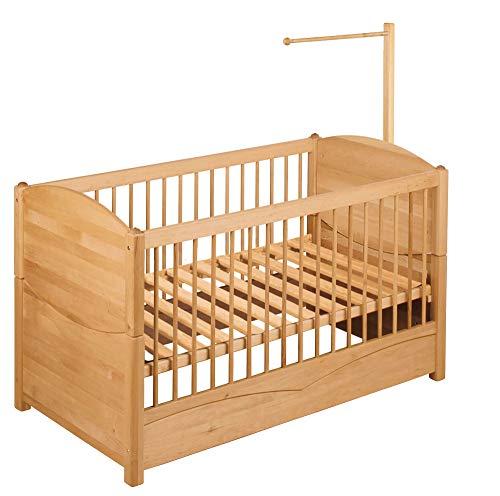 BioKinder Luca kinderbed kinderbank babybedje met vering voor luifel van massief hout elzenhout 70 x 140 cm