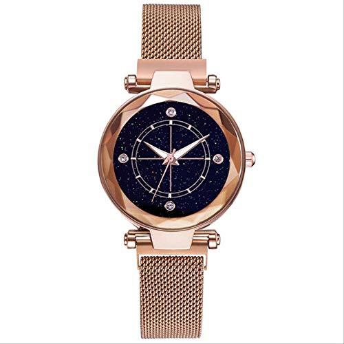 Sterrenhemel Romeinse Cijfers Dames Horloges Mode Elegante Magneet Gesp Vibrato Steentjes Dames Polshorloge Klok Geschenk