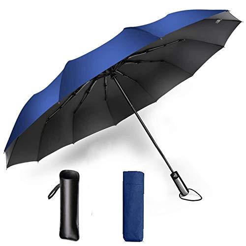 折りたたみ傘 ワンタッチ自動開閉 頑丈な10本骨 メンズ シンプル 台風対応 梅雨対策 耐風 超撥水 高強度グラスファイバー 108CMサイズ 晴雨兼用 収納ポーチ付き (ブルー)