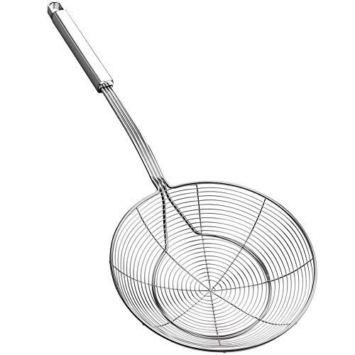 Ragno colino schiumarola, in acciaio inox, con manico per friggere a vapore e scooping, diametro 18 cm, lunghezza totale 43,9 cm