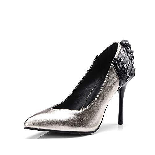 Zapatos De Tacón para Mujer,9.5Cm PU Cuero Sexy Asakuchi Señaló Court Shoes,Fiesta...