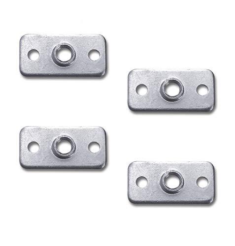 Gedotec Montageplatte M8 Gewinde für Möbelfüße & Verstellschrauben | Befestigungsplatte 40 x 20 mm | Stahl verzinkt | Befestigung für Sofa - Couch - Möbel uvm. | 4 Stück - Anschraubplatte mit Gewinde