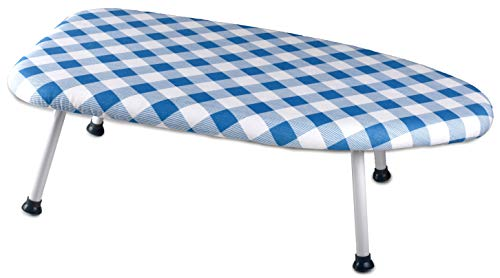 Collapsible Tabletop Ironing Board – Folding Legs and Padded Scorch Resistant Washable Cover. Easy...
