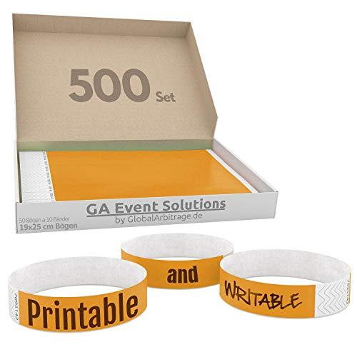 500 Eintrittsbänder aus Tyvek zum selbst gestalten und bedrucken in Orange von GA Event Solutions - Party Einlassbänder, Festival Armbänder für dein Event