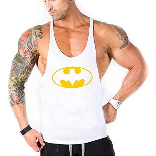 WICHENG Marken-Kleidung Batman Gyms Stringer Tank Top Männer Bodybuilding Fitness Männer Weste Y Zurück Sportbekleidung Under (Farbe : White, Size : M)