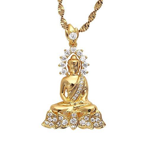 Collar budista de Buda Amitabha tibetano vintage, joyería de meditación