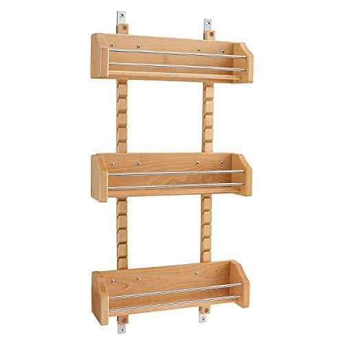 Rev-A-Shelf 4ASR-18 Medium Adjustable 3-Shelf Kitchen Cabinet Door Mounted Wooden Spice Rack with Door Mount Brackets, Natural Maple