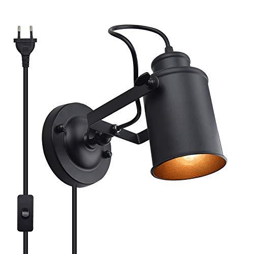 Luxvista Wandlampe Industrial Leuchte E27 Edison Fassung Schewenkbar Wandleuchte mit EU Stecker Schalter Modern Retro Lampe aus Metal in Schwarz Wandspot Wandstrahler Nachtlampe für Schlafzimmer Flur