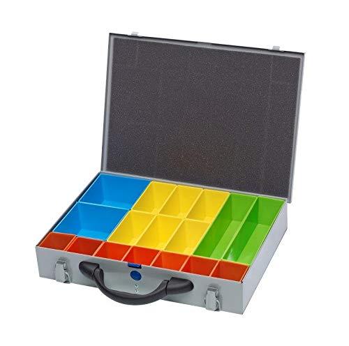 Organizador de tornillos de metal plateado para caja de herramientas, sistema de compartimentos, caja de fijación
