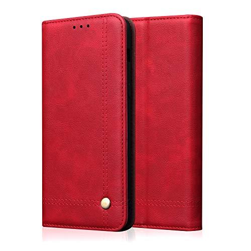 Kompatibel mit Asus ZENFONE6 2019/ZS 630KL Ultra dünn Schutzhülle Klapphülle Lederhülle Ledertasche mit Standfunktion Kartenfächer Handmade in Europa (Rot)