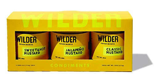 Wilder Condiments Mustard Trio, 6 Ounce Jars, Sweet and Hot, Classic, Jalapeno (3 Pack)