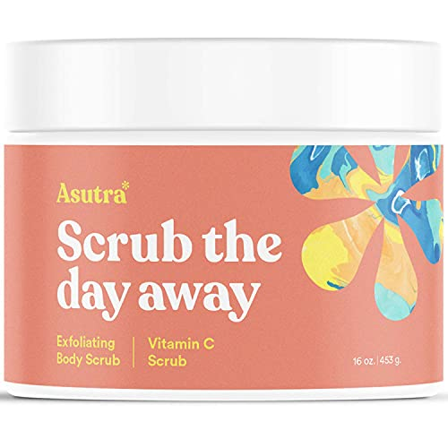 ASUTRA Dead Sea Salt Body Scrub Exfoliator (Vitamin C), NEW BIGGER 16 oz size | Ultra Hydrating, Gentle, & Moisturizing | Coconut, Sweet Orange, Grapefruit, and Lemon Oils