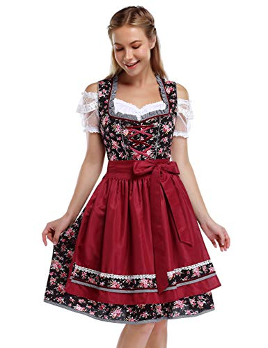 KOJOOIN Trachtenkleid Damen Dirndl Kurz mit Stickerei Exklusives Designer für Oktoberfest - DREI Teilig: Kleid, Bluse, Schürze Rot Weinrot Blumen 34