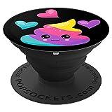 Cute Rainbow Poo Emoji with Hearts PACJ0098 - PopSockets Ausziehbarer Sockel und Griff für Smartphones und Tablets
