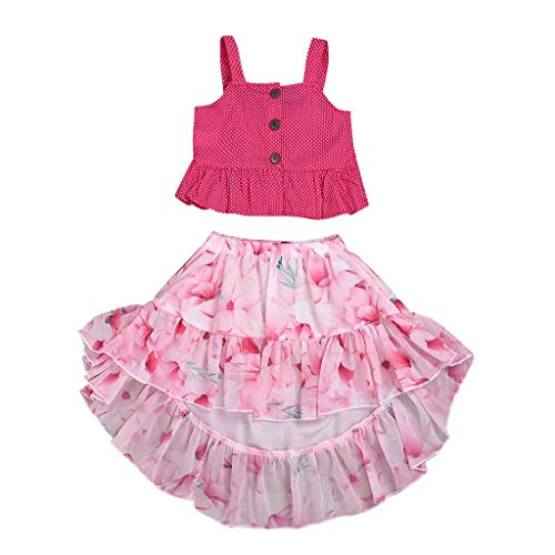 Kinder Mädchen Kleidung Set Camisole Faltenrock Zweiteilig Anzug Halfter Top Babyhemd Baby Shirt Unregelmäßige Blume Schwalbenschwanz Rock, Rot, 8-9 Jahre