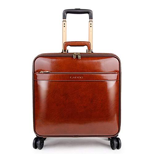 Business handbagage koffer, 16 inch bagage leer trolley universele wiel leder koffer - 4 ronde