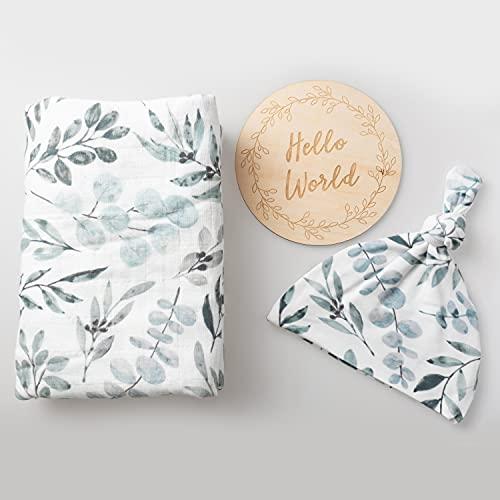 100% Organic Cotton Muslin Blanket  Eucalyptus Swaddle Set  Hospital Receiving Blanket Newborn Boy Girl Unisex Neutral  Boho Vintage Greenery