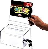 Urna de donación acrílica con cerradura Sugerencia clara / Caja de dibujo de negocios / tarjetas con letrero y cerradura