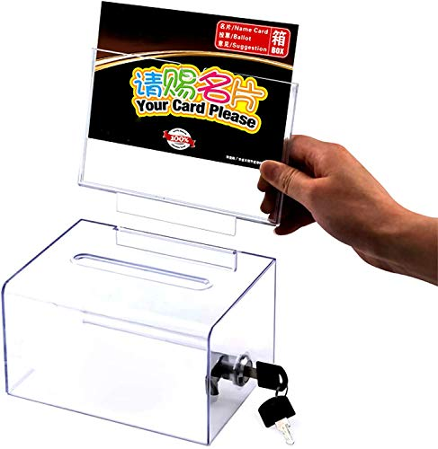 Locking and Pen for Wall or Countertop,6 Replaceable Tags, Suggestion Box,Donation Box,Mail Box,Comment Box