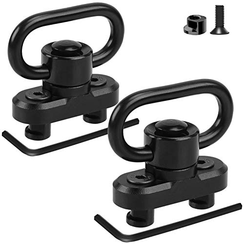 Compatible with Keymod QD Sling Mount Sling Swivel 2 Pack Quick Detach/Release 1.25' Push Button QD Sling Swivels Mount Adapter Base Attachment for Keymod HandGuard Rail
