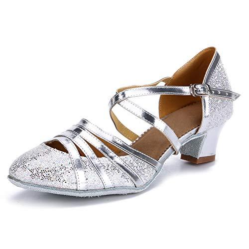 HIPPOSEUS Zapatos de Baile Latino para Mujer con Correa Cruzada Zapatos de Baile con Brillo y Salsa de Tango para Baile de salón 4 cm,CMJ512,Plata Color,EU 39