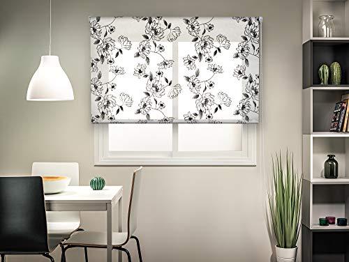 Easydeco Estor Enrollable translúcido - Estampado Flores - Eden - Gris Claro y Negro (105_x_190_cm)