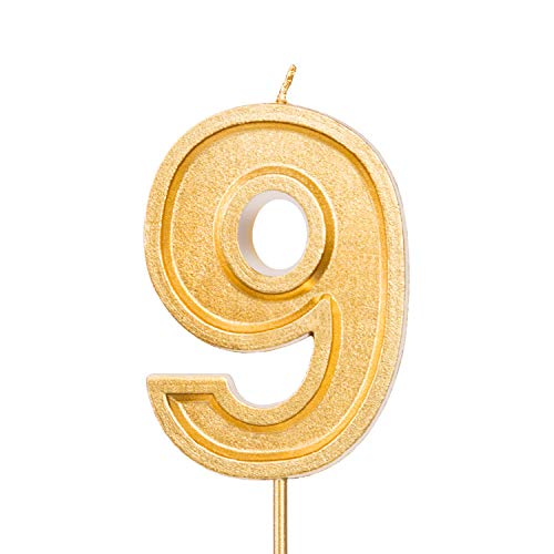 LUTER 2.76 Inches Large Birthday Candles Gold Glitter Birthday Cake Candles Number Candles Cake Topper Decoration for Wedding Party Kids Adults (Number 9)