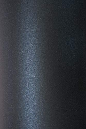 10x Blatt Perlmutt-Dunkelblau 125g Papier DIN A4 210x297mm, Sirio Pearl Shiny Blue, ideal für Hochzeit, Geburtstag, Taufe, Weihnachten, Einladungen, Diplome, Visitenkarten, Grußkarten, Scrapbooking