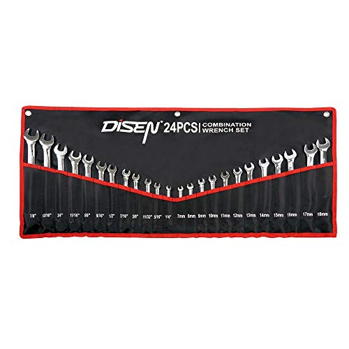 Combination Wrench Set with Tool Roll,24-Piece,Disen 12 point Combination Wrench, 7-18mm and 1/4-7/8