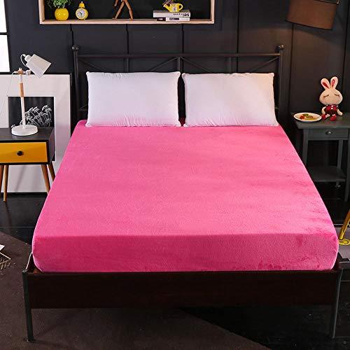 XGguo Protector de colchón - óptimo antiácarosSábana de Terciopelo de Color sólido de una Sola Pieza Engrosamiento-Rosa roja_120cm × 200cm