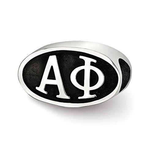 Hermosa plata esterlina Logoart Alpha Phi Oval Letras Bead