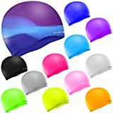 SWIM ELITE Seamless Silicone Swimming Cap for Adults and Junior - Training and Racing (Black)